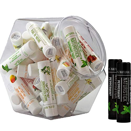 32 Pack Bulk All-Natural Lip Balms in Mini-Fishbowl by Naturistick, Best Chapstick for Dry, Chapped Lips, 4 Soothing Flavors with Aloe Vera, Vitamin E, Coconut Oil for Men, Women and Kids, Made in USA