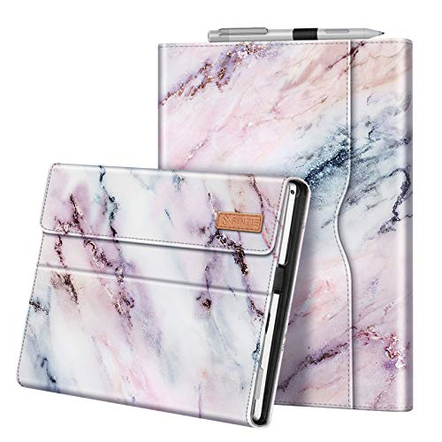 Fintie Case for 12.3 Inch Microsoft Surface Pro 7, Surface Pro 6, Surface Pro 5, Surface Pro 4, Pro 3 - Portfolio Business Cover with Pocket, Compatible with Type Cover Keyboard (Marble Pink)