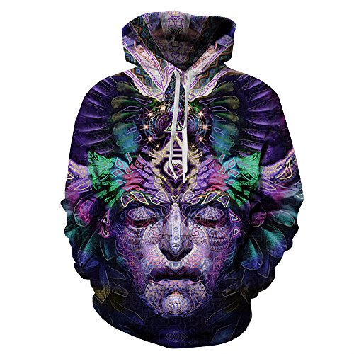 NEWCOSPLAY Unisex Realistic 3D Digital Print Pullover Hoodie Hooded Sweatshirt Wolf (Abstract Face,...