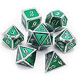 Haxtec Metall DND Würfel-Set D&D 7-teilig D20 D12 D10 D8 D6 D4 für Dungeons und Dragons TTRPG...