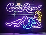 Crown Royal Girl Neon Sign 17'x14'Inches Bright Neon Light for Store Beer Bar Pub Garage Room