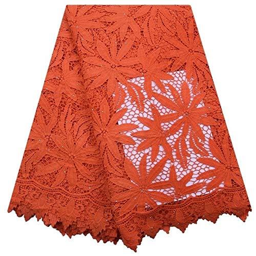 Cjcaijun 5yards del cordón bordado PrintingPink African Blue Tela de encaje guipur Cordón soluble en agua del cordón for la boda de costura (Color : As Picture 4)