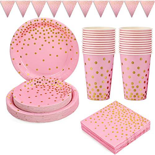 Platos de Papel Fiesta Oro Rosa 101PCS Vajilla de Papel Cumpleaños Dorada Incluye Platos de 9' y 7', Servilletas, Vasos de 12 oz, Banner, para Despedida de Soltera,Compromiso,Baby Shower(25 Invitados)