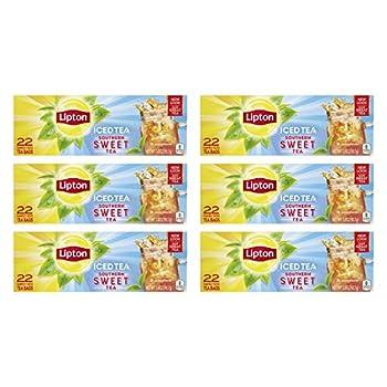 Lipton Family Tea Bags Southern Sweet Tea 22 Ct pack of 6