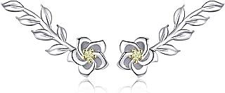 Dainty Flower Ear Crawler Climber Earrings Sterling Silver CZ Leaf Sweep up Cuffs Hoop Wrap Wedding Earring Hypoallergenic Fashion Jewelry