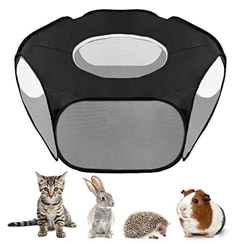SlowTon 2020 New Small Animal Playpen, Foldable Pet Cage with Top Cover Anti Escape, Breathable Transparent Indoor/Outdoor Use Pop Up Yard Fence for Kitten Puppy Guinea Pig Rabbits Hamster (S, B)