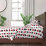 Roostery Sheet Set, Playing Cards Red and Black Suits Ace of Spades Card Games Game Aces Jack Poker Print, 100% Itallian Cotton Sateen Sheet Set, King