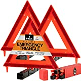 Xpose Safety Reflective Emergency Triangles 3 Pack - Roadside Car Safety and Warning Tool - DOT Approved Triangle Reflectors - Red and Orange Automotive Vehicle Road Visibility and Hazard Marker