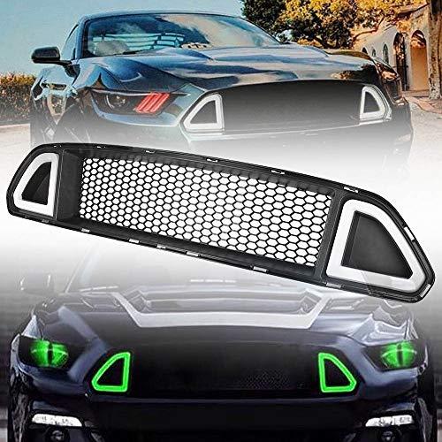 Piaobaige Kühlergrill Center Grill w/LED Lampe weiß/grünes Licht, für Ford Mustang 2015 2016 2017 ABS Kunststoff