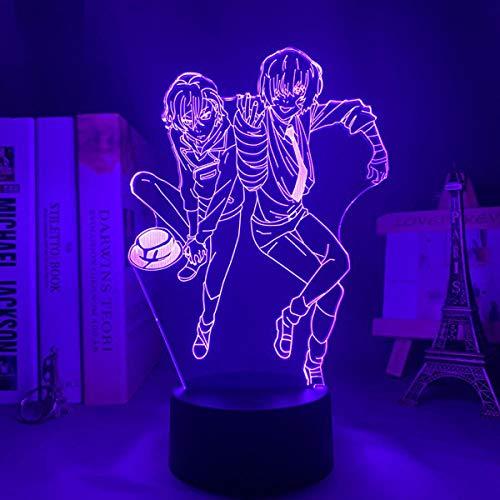 Hermosa lámpara de ilusión de luz nocturna 3D, anime Led Night Light Bungo Perros callejeros para decoración del dormitorio, colorido manga Bungo perros callejeros - Control remoto colorido