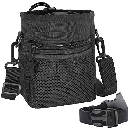 Tactical Dog Training Pouch Pet Treats Bag for Puppy Small Large Dogs Treat Pouch Waist Bag Treat Tote Carry Toys Kibble Snacks with Waist Belt Shoulder Strap Poop Bag Dispenser (Black)