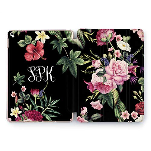 Wonder Wild Dark Flowers iPad 5th 6th Generation Mini 1 2 3 4 Pink Roses Peony Air 2 Pro 10.5 12.9 2018 10.2 9.7 inch Cute Smart Stand Cover Custom Name Initials Case Pretty Monogram Floral Pattern