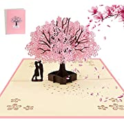 AOBETAK 3D Pop Up Greeting Card with Envelope for Wife Husband Her Him Boyfriend Girlfriend, Romantic Couple Under Cherry Tree, Cards for Wedding, Christmas, Birthday, Anniversary, Valentine's Day