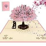 AOBETAK 3D Pop Up Grußkarte mit Umschlag für Ehefrau, Ehemann, Ihn, Freund, Freundin, Romantisches Paar unter Kirschbaum, Karten für Hochzeit, Muttertag, Geburtstag, Jahrestag, Valentinstag