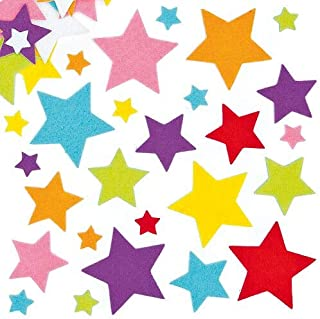 Baker Ross Felt Star Stickers for Kids' Crafts and Art Projects, Cards, Party Bags, and Decorations (Pack of 144)