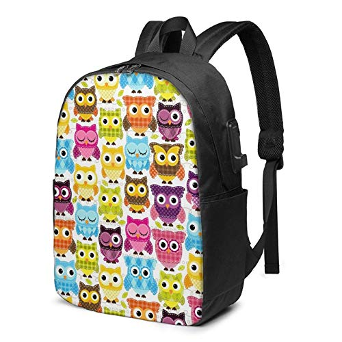 Travel Laptop Backpack, Owls Travel Laptop Backpack College School Bag Casual Daypack with USB Charging Port
