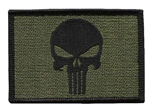 Punisher oliv Bestickt Airsoft Klett-Patch, Grün,