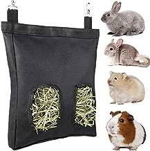 Suwikeke Rabbit Guinea Pig Hay Feeder Bag, Small Animal Hay Feeder Storage, Hay Bag Hanging Feeder Sack for Chinchilla Bunny (Black)