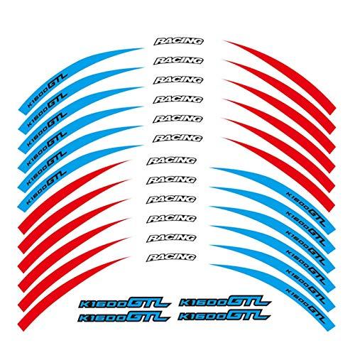 XIAOZHIWEN Un Conjunto de calcomanías de Ruedas de Motocicleta de 12 unids Impermeable Reflectante Pegatinas Ramas de llanta para BMW K1600GTL Universal (Color : A)