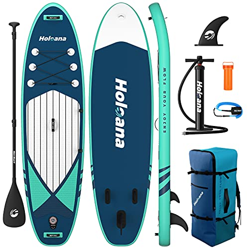 """ISSYAUTO Inflatable Paddle Board Stand Up SUP 10'6""""×31""""×6"""" Ultra-Light Inflatable Paddle Boards, Non-Slip Deck Pad, with Backpack, Leash, Paddle and Hand Pump"""