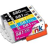Starink Compatibile per Canon 580 581 XXL PGI-580XXL CLI-581XXL Cartucce d'inchiostro per Canon Pixma TR8550 TR7550 TS6150 TS6151 TS6250 TS6350 TS9550 TS9551C TS705 Stampante 5 confezioni