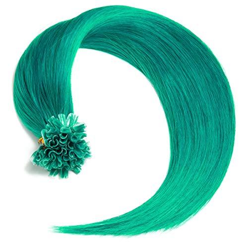 Türkise Keratin Bonding Extensions 100% Remy Echthaar Human Hair - 25x 1g 45cm Glatte Strähnen - Lange Haare mit Keratin Bondings U-Tip Haarverlängerung Haarverdichtung-Farbe:Türkis