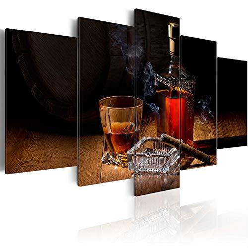 QWERGLL Leinwand mit 5 Feldern 5 Stücke Gedruckt Stillleben Weinglas Leinwand Ölgemälde Dekoration Wandbild Im Wohnzimmer Leinwand Kunst