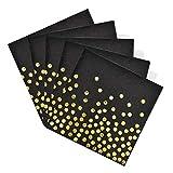 Disino 50 Pezzi Tovaglioli Oro e Nero per Feste, 33 X 33 cm Tovaglioli di Carta Biodegradabile per Festa di Compleanno, Natale, Cerimonia Matrimoniale