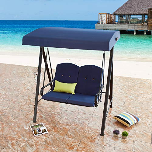 LOKATSE HOME 2-Person Canopy Outdoor Swing Chair Patio Hammock Seat with Cushions and Teapoys Loveseat Bench Bed Furniture, Blue