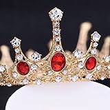 Frcolor Tiara nuziale della principessa Regina Corona, fascia rubino vintage corona strass...
