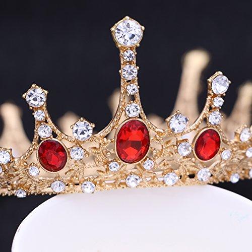 Frcolor Tiara nuziale della principessa Regina Corona, fascia rubino vintage corona strass fascia per la sposa e damigella cerimonia nuziale (rosso rubino)