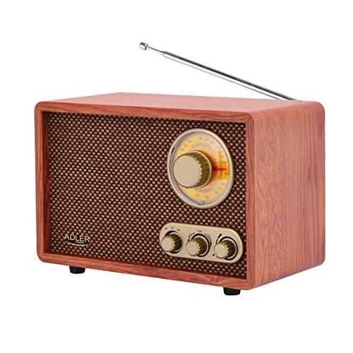 Adler AD 1171 Retro Radio, Bluetooth, AM/FM, Holzgehäuse, Nostalgieradio mit Teleskopantenne, Retro-Design, tragbares Küchenradio, einfache Bedienung, Vintage Radio, braun