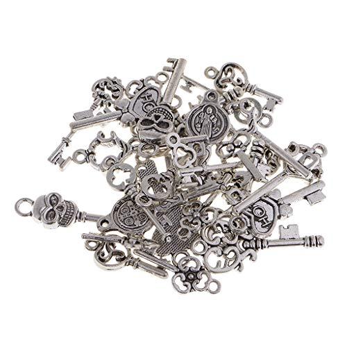 joyMerit 30 Piezas de Amuletos de Llaves con Forma Mixta, Colgantes, Fabricación de Hallazgos de Joyería para Manualidades