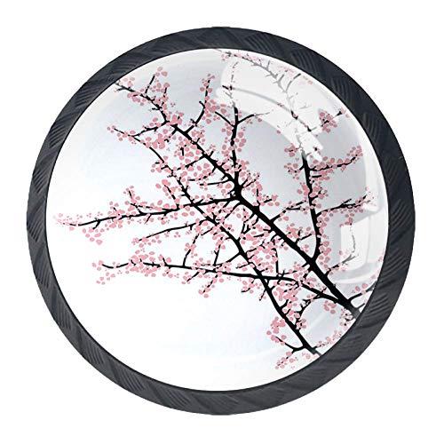 Tiradores de cajón con diseño floral, rama de cerezo con flor rosa, estilo tradicional, ilustración de cultura asiática, 4 unidades de pomos para gabinete de cocina, aparador de armario