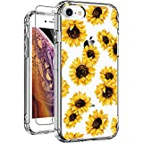 GiiKa iPhone 7 Case iPhone 8 Case with Glass Screen Protector, Heavy Duty Protective Case Clear Floral Design Ultra-Thin Shockproof Protective Sunflower iPhone 7 Phone Case for Women Girls