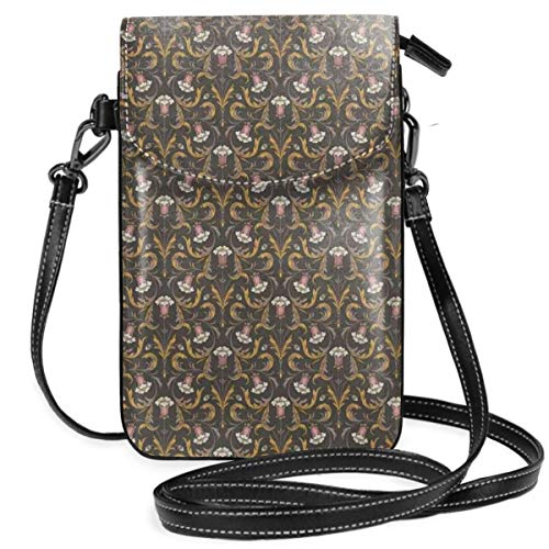 Women Small Cell Phone Purse Crossbody,Victorian Style Retro Pink Bell Flowers With Browning Leaves On Dark Background