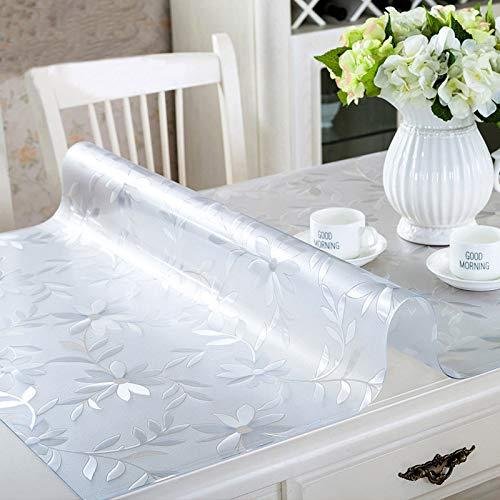 HSGei Mantel Suave de Cristal Transparencia PVC Tabla Tela Impermeable a Prueba de Aceite de Cocina Mesa de Comedor Cubierta para Mesa Rectangular de 1,0 mm,Flower,60x60 cm