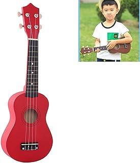 Toys&Hobbies HM100 21 inch Basswood Ukulele Children Musical Enlightenment Instrument(Black) (Color : Red)