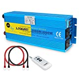 Cantonape Pure Sine Wave 2000W/4000W Power Inverter 24V DC to 230/240V AC with wireless Remote Control and Dual UK Outlets & LCD for RV Truck Boat CAMPING
