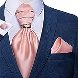 SKREOJF Hombres Vintage Rosa Boda Formal Cravat Estilo británico Gentleman Silk Silk Corbate Pocket Square Set (Color : Gold Ring, Size : One Size)
