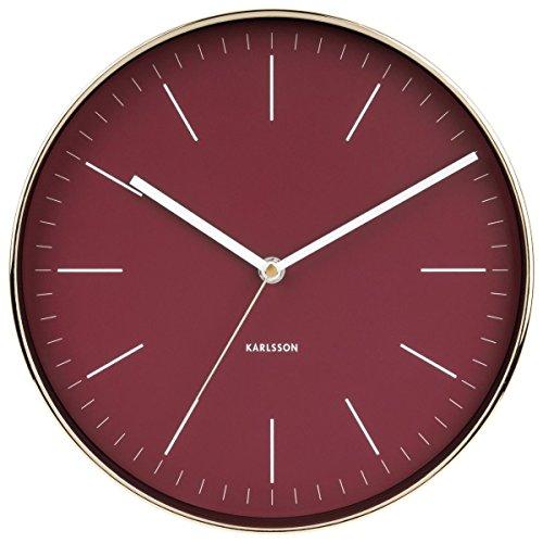 Karlsson minimal klok, wandklok, staal, rood, één maat
