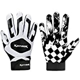KUTOOK Football Gloves Receiver Gloves Sticky Gloves Palm Protection Men Black Large