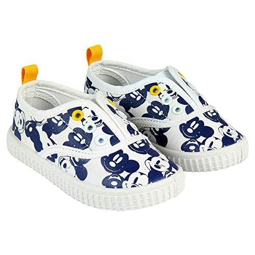 Micky Maus-Kindersegeltuchschuhe von Disney Ohne Saiten. Weiß und Blau (Größen 22 bis 27) (25 EU)