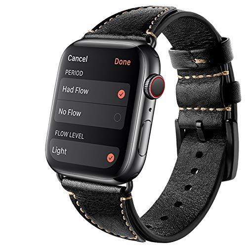 Compatible con Apple Watch Correa 42 mm 38 mm 44 mm 40 mm Reemplazo de cuero auténtico Vintage pulsera para Iwatch Bands Hombres Mujeres 83012 (42 mm/44 mm,#1)