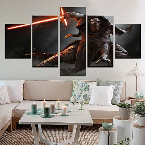 XIAYF Star Wars Movies 5 Piezas Cuadro En Lienzo Material no Tejido, Hd Moderno DecoracióN Hogar Decorativos Oficina Aniversario Pinturas ArtíSticas PóSter (150x80cm Marco)