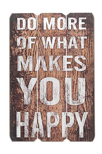 levandeo Wandbild Holz MDF 40x60cm Holzbild Braun Holzschild Spruch Schild Bild Happy Wanddeko Wandobjekt