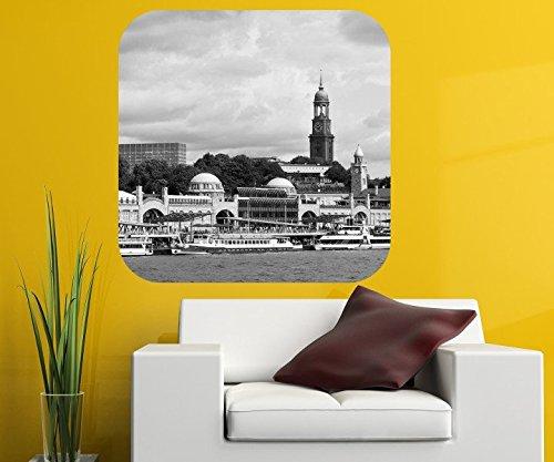 Hamburg Wandbild St.Pauli Hafen Wandaufkleber Wandsticker selbstklebendes Wandtattoo Wohnzimmer Aufkleber 11A206, Wandbild Größe A:48x48cm