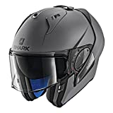 SHARK HE9702DAMAKS Unisex-Adult Flip-Up Helmet (Matte Dark Grey, KS - 63-64 cm - 24.8-25.2'')