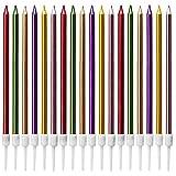 Velas de Tarta de Cumpleaños, 24 Piezas Velas de Tarta Metálicas Delgadas Largas Velas en Soporte...