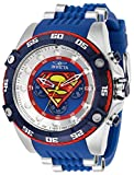 Invicta Men's DC Comics Stainless Steel Quartz Watch with Silicone Strap, Blue, 26 (Model: 29121)